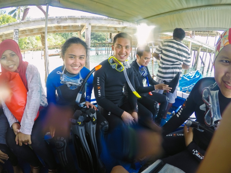 In our scuba gear, getting ready to dive!